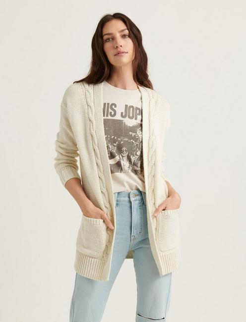 CABLE FRONT CARDIGAN, 104 CREAM