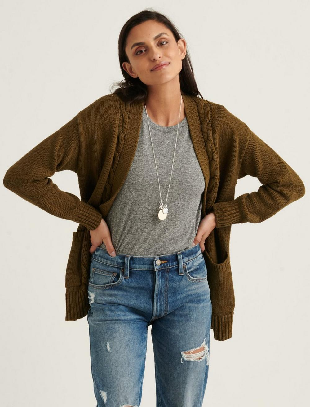 CABLE FRONT CARDIGAN, image 1