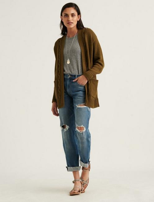 CABLE FRONT CARDIGAN, OLIVE