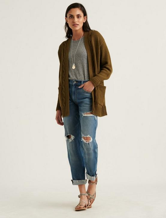 CABLE FRONT CARDIGAN, OLIVE, productTileDesktop