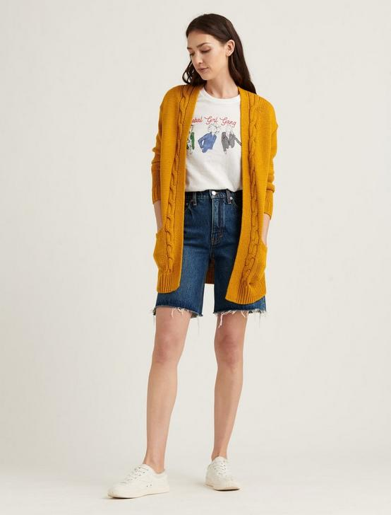CABLE FRONT CARDIGAN, MUSTARD, productTileDesktop
