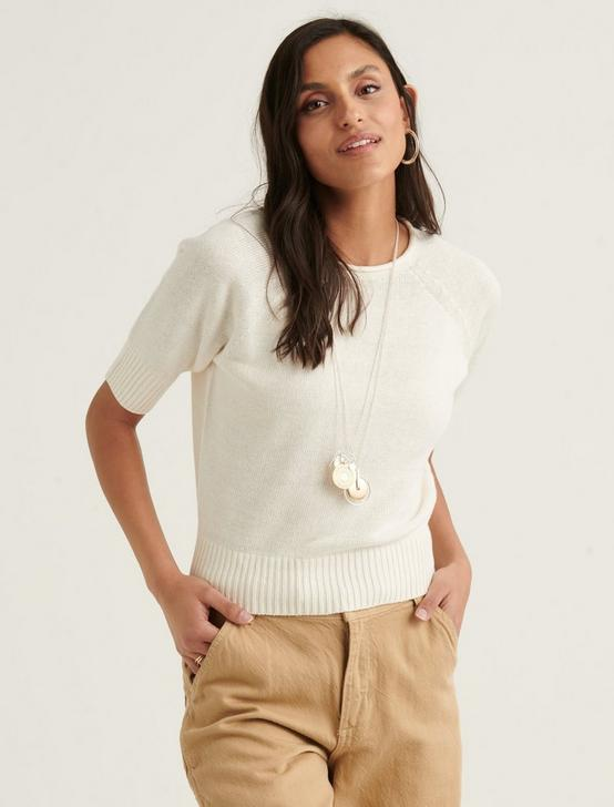 ROLL NECK SHORT SLEEVE SWEATER, SNOW WHITE, productTileDesktop