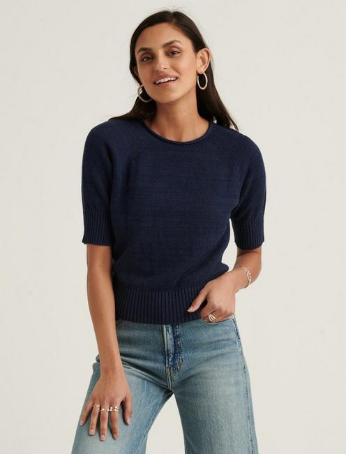 ROLL NECK SHORT SLEEVE SWEATER,