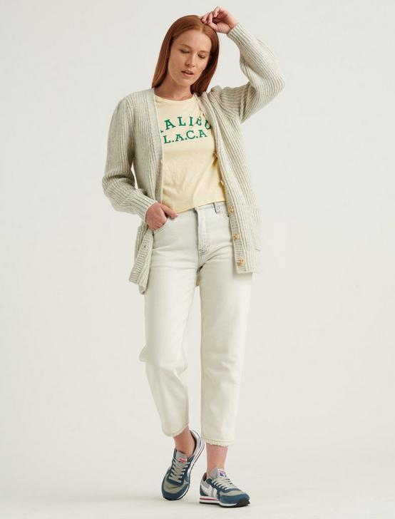 PLEATED SHOULDER CARDIGAN, MINT HEATHER, productTileDesktop