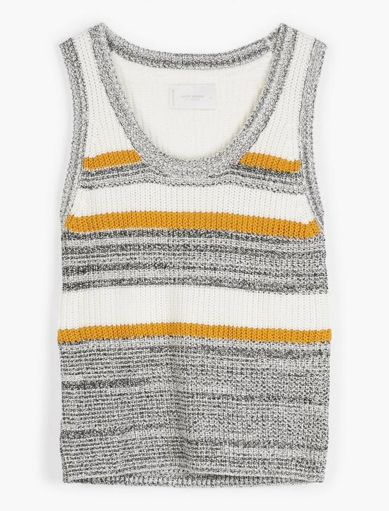 STRIPE SWEATER TANK, WHITE MULTI, productTileDesktop