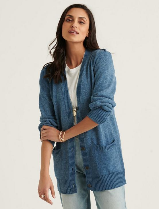 PLEATED SHOULDER CARDIGAN, INDIGO, productTileDesktop