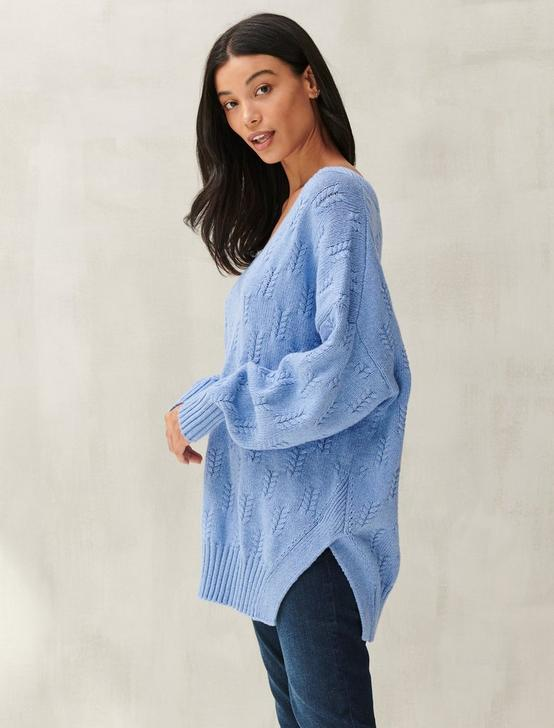 BRAIDED STITCH PULLOVER, BLUE HEATHER, productTileDesktop