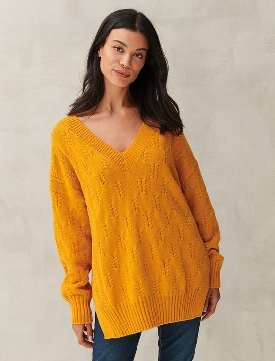 BRAIDED STITCH PULLOVER, #7317 Sunflower, productTileDesktop