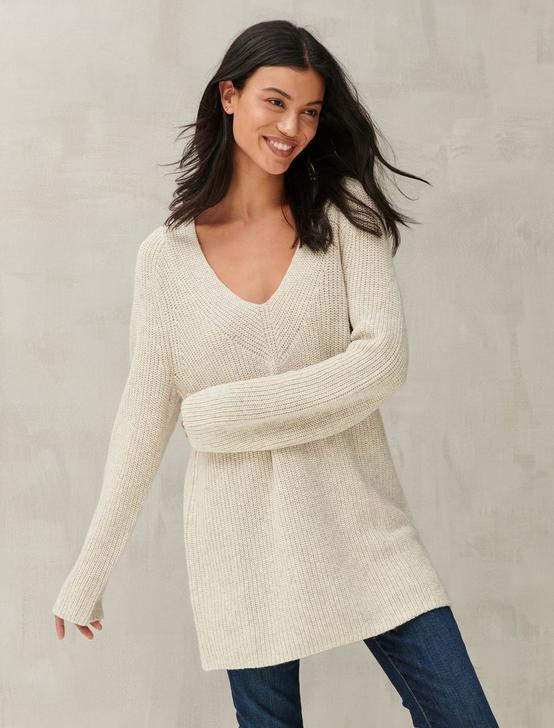 V-NECK PULLOVER SWEATER, LIGHT HEATHER GREY (B03), productTileDesktop