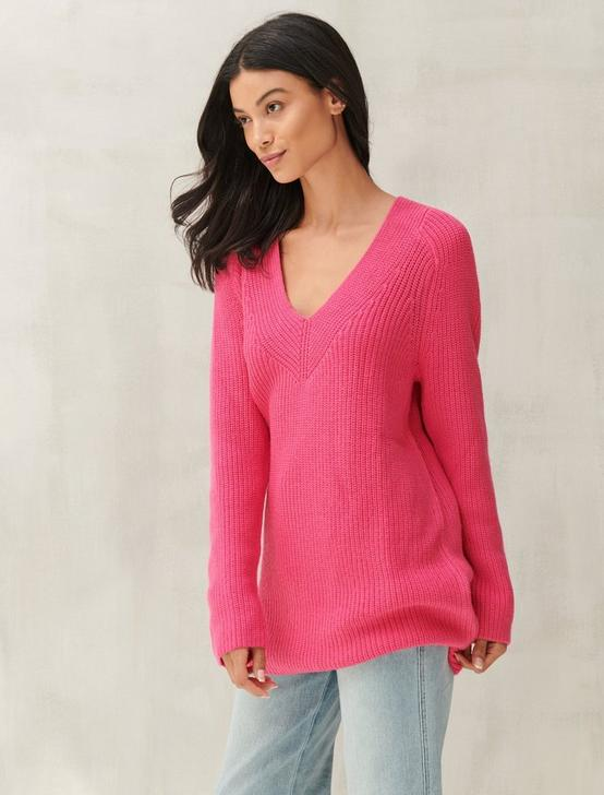 V-NECK PULLOVER SWEATER, BOLD BARBIE, productTileDesktop