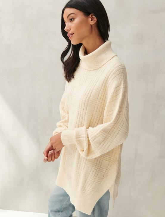 TEXTURED STITCH TURTLENECK, ENGLISH CREAM, productTileDesktop