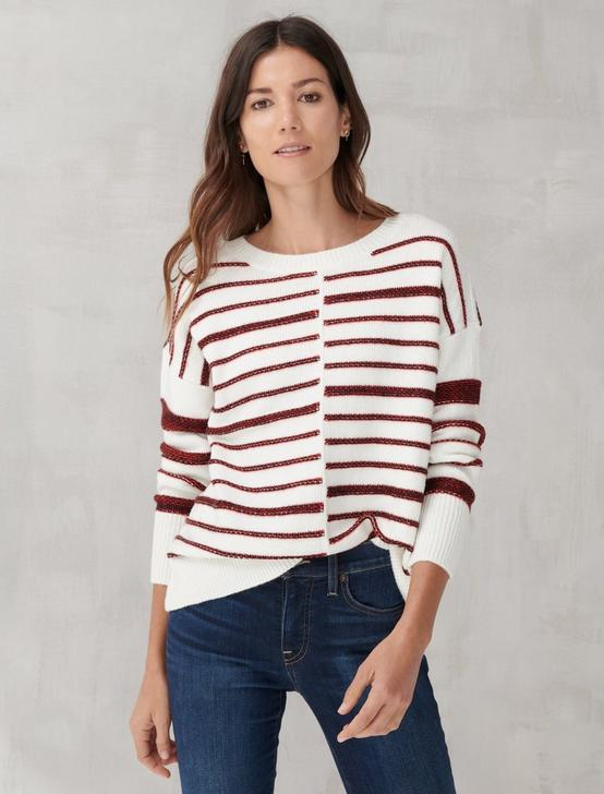 TEXTURED STRIPE CREW NECK SWEATER, WHITE MULTI, productTileDesktop