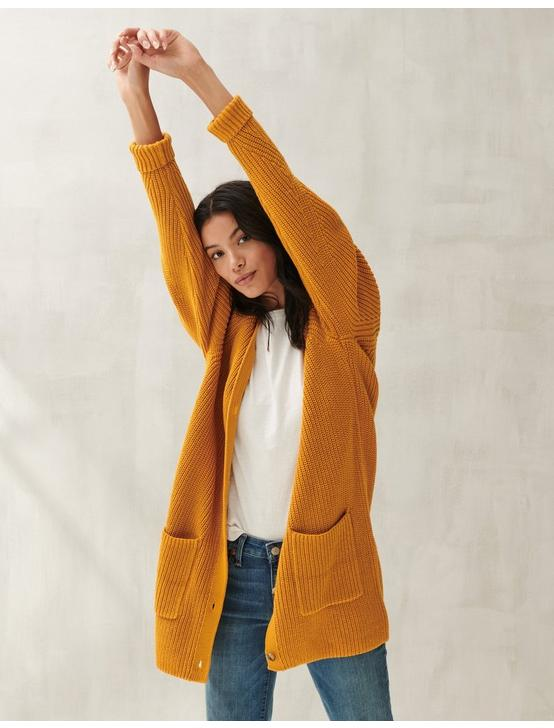 TRAVELING RIB LONG CARDIGAN, #7317 Sunflower, productTileDesktop