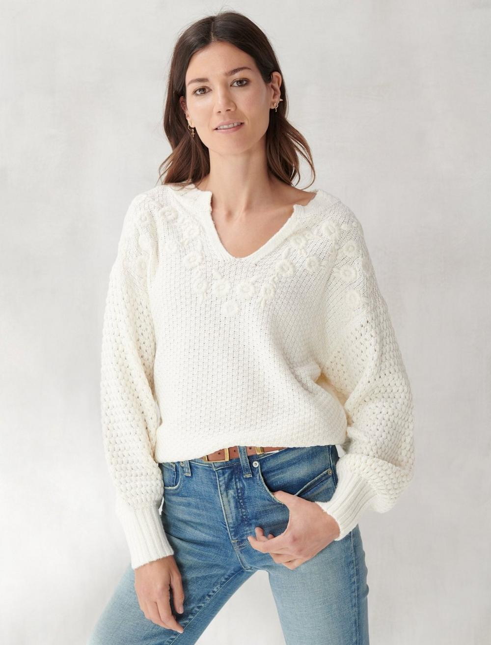 EMBROIDERED NOTCH NECK SWEATER, image 1