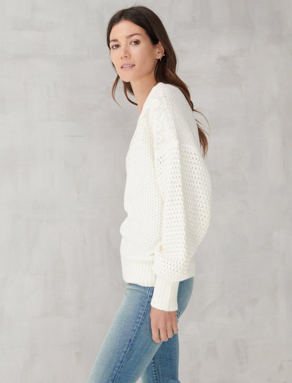 EMBROIDERED NOTCH NECK SWEATER, image 3