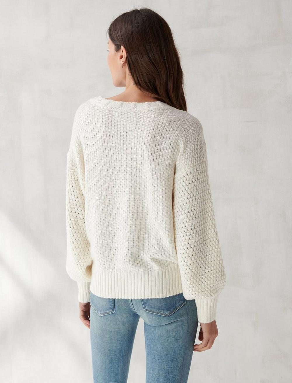 EMBROIDERED NOTCH NECK SWEATER, image 4