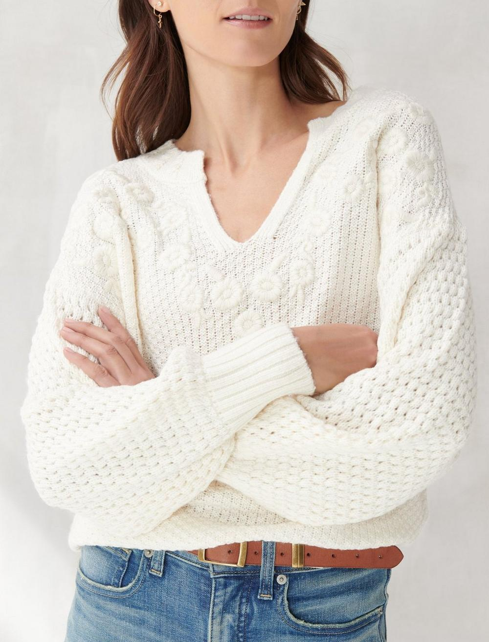 EMBROIDERED NOTCH NECK SWEATER, image 5