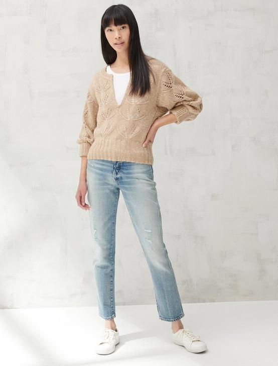 MIX STITCH PEASANT SWEATER, CAMEL MULTI, productTileDesktop