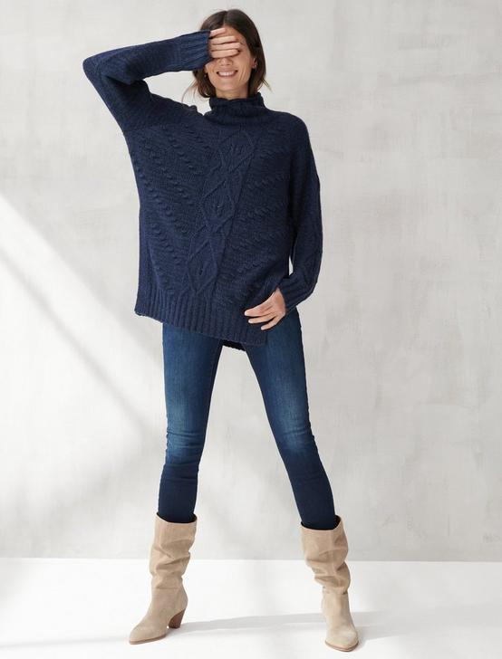 TURTLENECK CABLE TUNIC SWEATER, , productTileDesktop