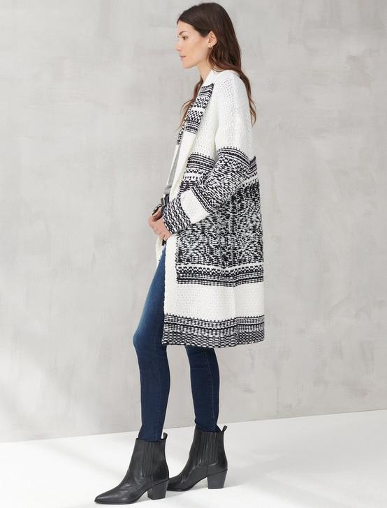 BOARDER PRINT SHAWL CARDIGAN, NATURAL MULTI, productTileDesktop