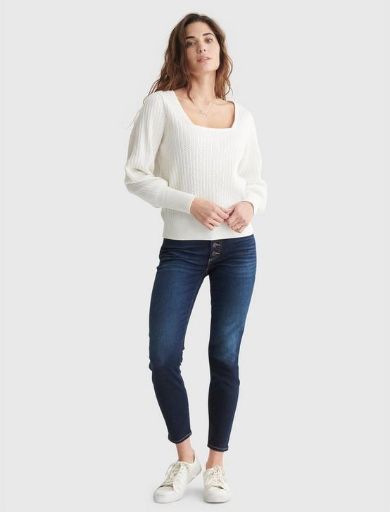 SQUARE NECK BLOUSON SLEEVE SWEATER, MARSHMALLOW, productTileDesktop