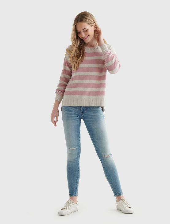 TEXTURED KNIT SWEATER, PINK STRIPE, productTileDesktop