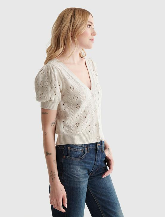 CROPPED SHORT SLEEVE V-NECK CARDIGAN, STRAW HEATHER, productTileDesktop
