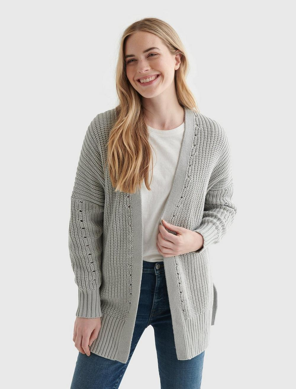 TEXTURED OPEN-FRONT CARDIGAN, image 1