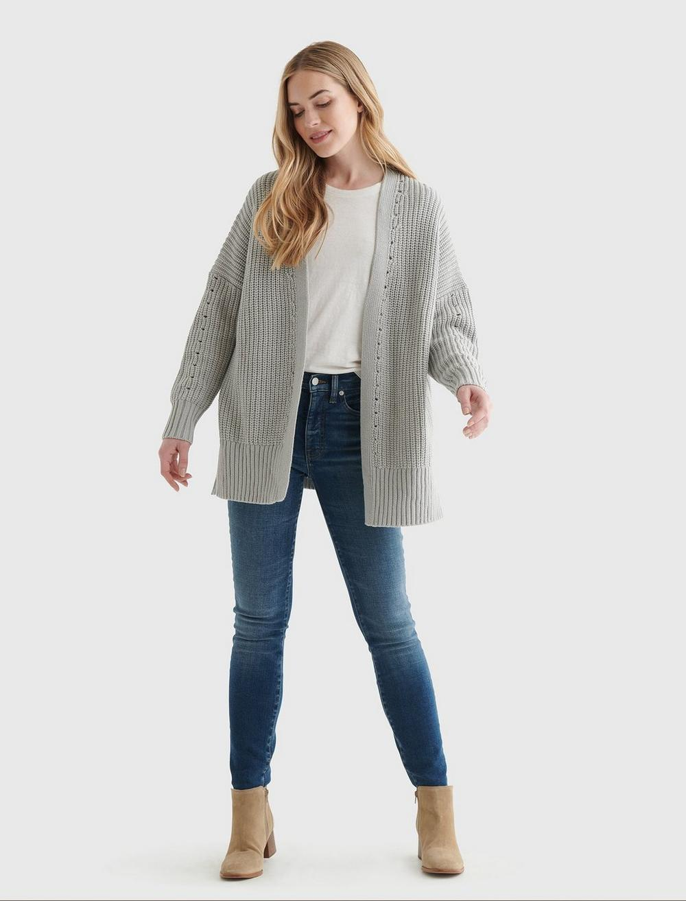 TEXTURED OPEN-FRONT CARDIGAN, image 2