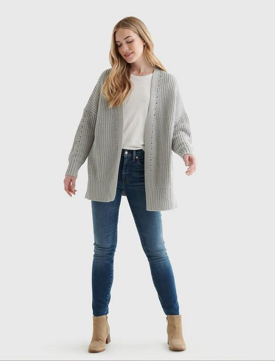 TEXTURED OPEN-FRONT CARDIGAN, LIGHT HEATHER GREY (B03), productTileDesktop