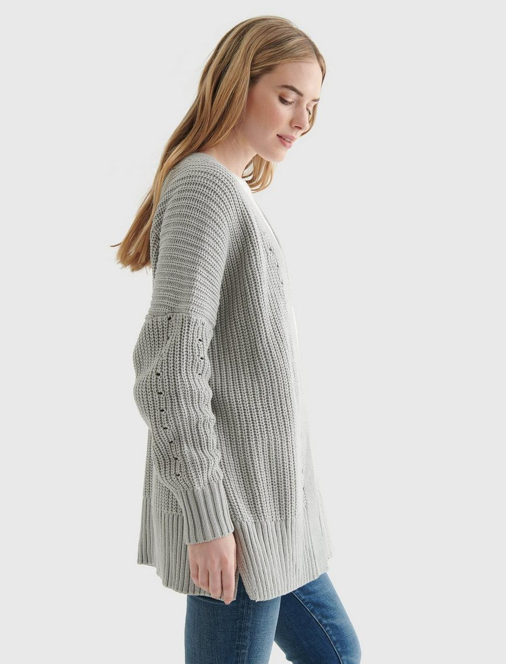 TEXTURED OPEN-FRONT CARDIGAN, image 3