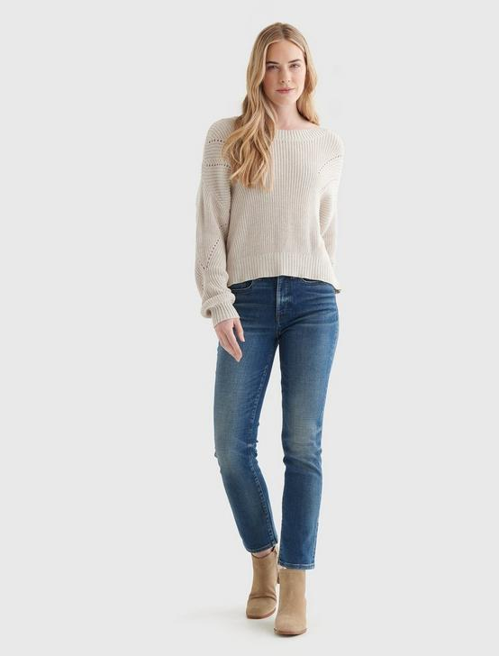 CROPPED RIB-KNIT PULLOVER REVERSIBLE SWEATER, STRAW HEATHER, productTileDesktop
