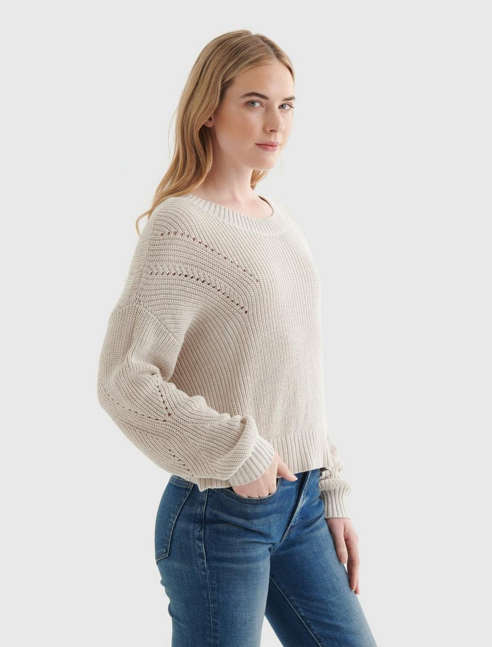 CROPPED RIB-KNIT PULLOVER REVERSIBLE SWEATER, image 3