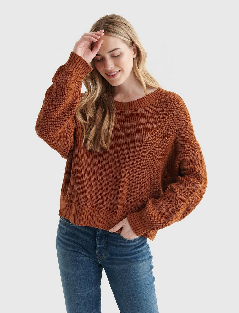 CROPPED RIB-KNIT PULLOVER REVERSIBLE SWEATER, image 1