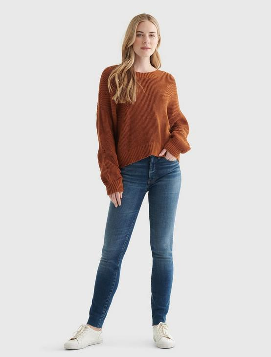 CROPPED RIB-KNIT PULLOVER SWEATER, GLAZED GINGER, productTileDesktop