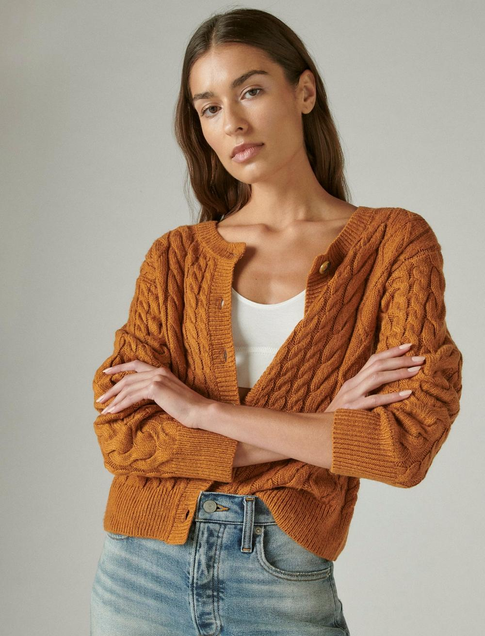 CABLE CARDIGAN TOP, image 1
