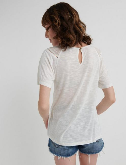 EMBROIDERED WOVEN MIX TOP, MARSHMALLOW