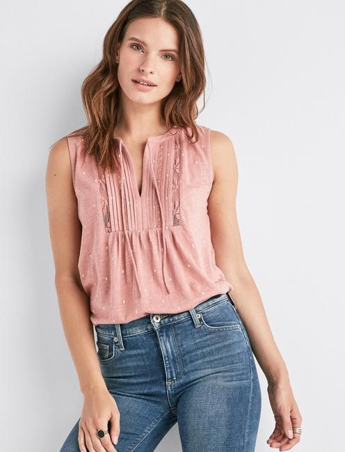 59a88a4231004 V-Neck Sleeveless Lace Mix Top | Lucky Brand