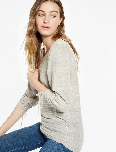 BOAT NECK RUCHED SLEEVE TOP, OLIVE
