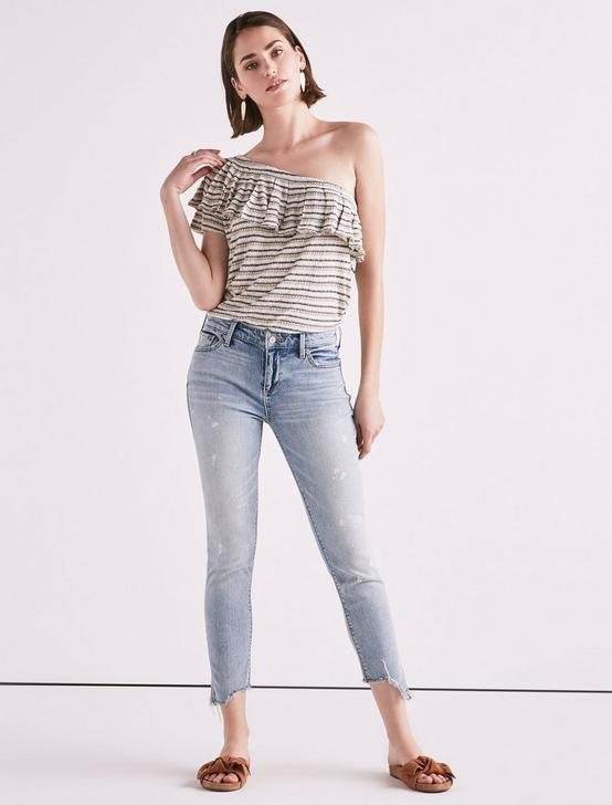 DROP NEEDLE STRIPE ONE SHOULDER TOP, NATURAL STRIPE, productTileDesktop