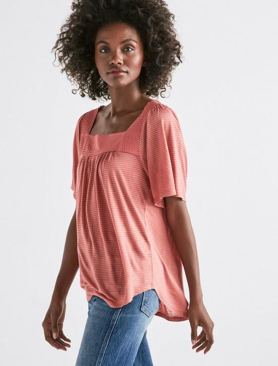 SHADOW STRIPE PEASANT TOP, LIGHT MAHOGANY, productTileDesktop