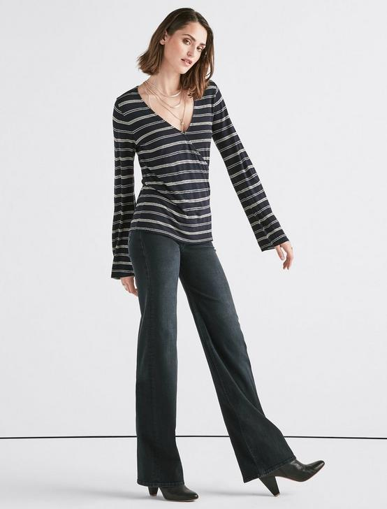STRIPE WRAP TOP, NAVY STRIPE, productTileDesktop