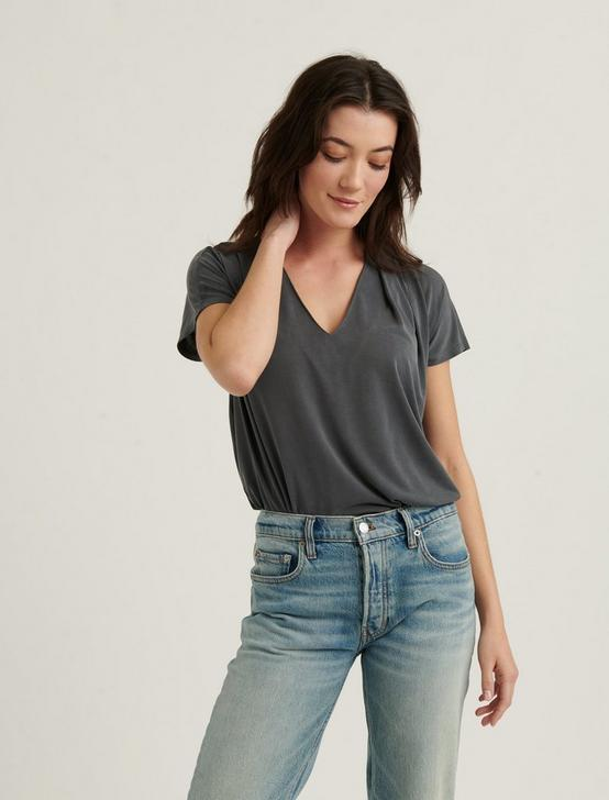 SANDWASH V-NECK DARTED TOP, CHARCOAL, productTileDesktop