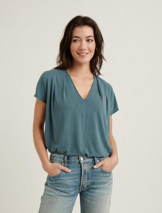 SANDWASH V-NECK DARTED TOP, NORTH ATLANTIC, productTileDesktop
