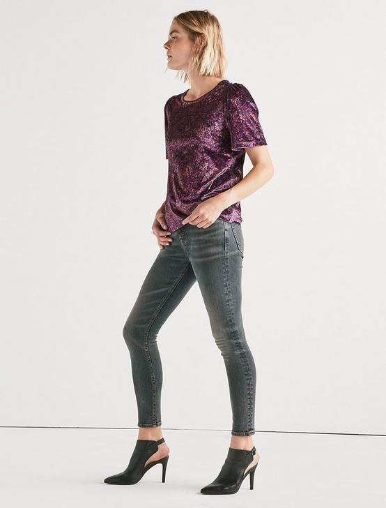 PRINTED VELVET TOP, BERRY MULTI, productTileDesktop