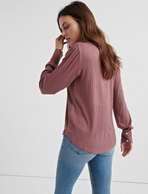 LACE MIX DROP NEEDLE TOP, ROSE TAUPE