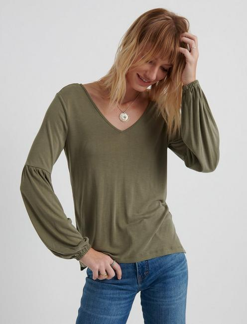 SANDWASH VOLUME SLEEVE TOP, TARMAC