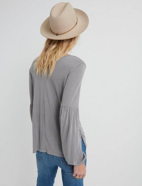 SANDWASH VOLUME SLEEVE TOP, GULL