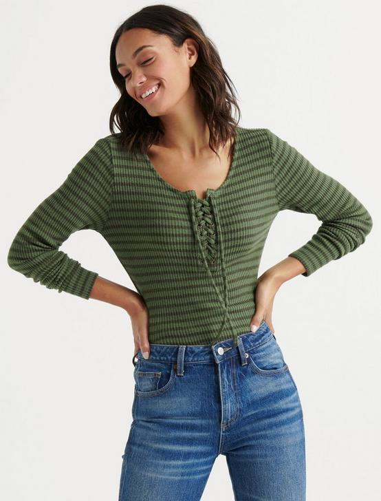 STRIPE LACE UP RIBBED HENLEY, OLIVE STRIPE, productTileDesktop