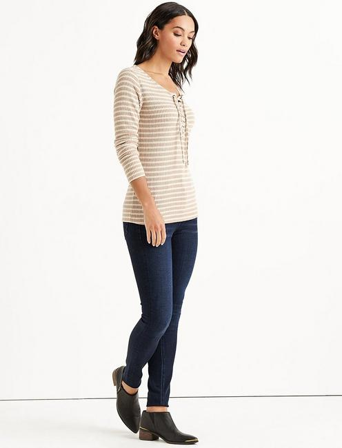 Lucky Stripe Lace Up Ribbed Henley